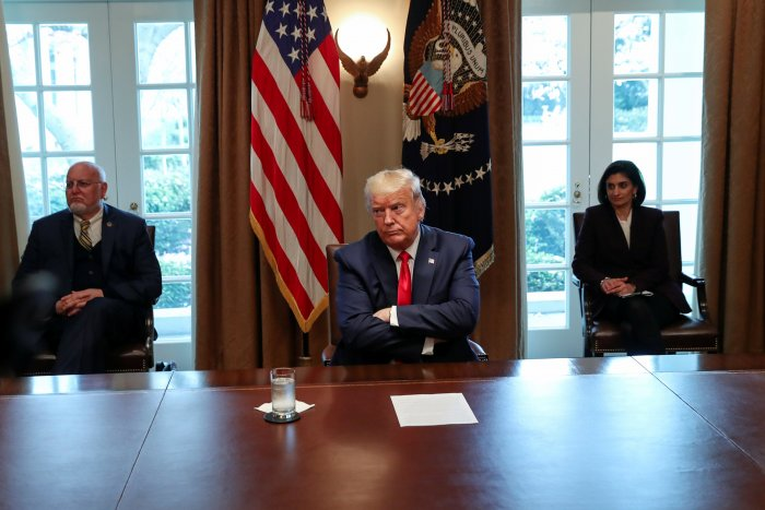 U.S. President Donald Trump meets with representatives of nurses organizations on coronavirus response in the Cabinet Room of the White House in Washington. (Credit: Reuters)