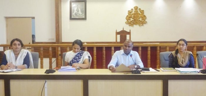 District in-charge Secretary V Anbukumar presided over a meeting at the DC's office on the measures taken against the spread of Coronavirus.