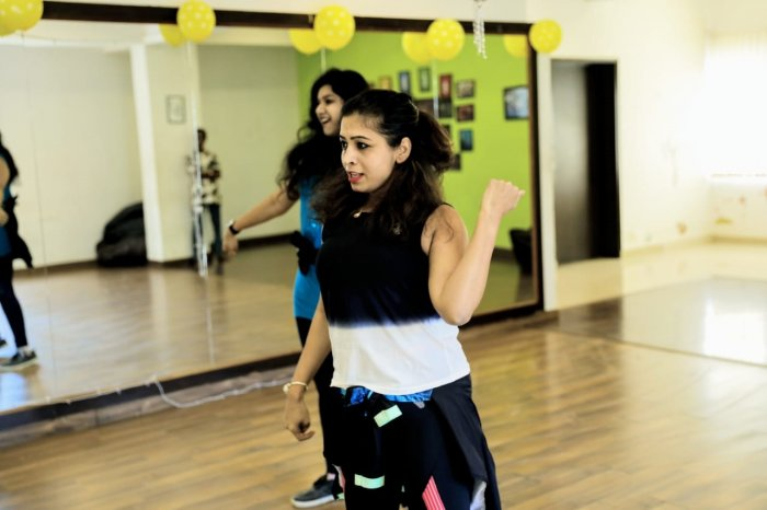 Zumba instructor Namrata Sinha conducts a class. She now holds virtual classesfor students from around the world.