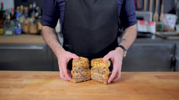 Andrew Rea of 'Binging  with Babish' recreates recipes featured in films, TV and video games such as 'Krabby Supreme' (in pic) from SpongeBob SquarePants.