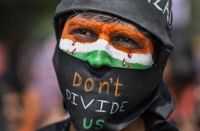 A protestor participates in a demonstration 'Delhi Chalo' against Citizenship (Amendment) Act (CAA) , National Register of Citizens (NRC) and National Population Register (NPR). (PTI Photo)