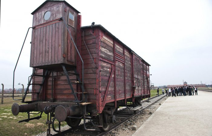 The cattle-wagon on which the victims were brought to Auschwitz