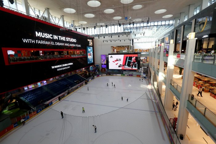The ice rink is seen in a mall in Dubai. (Credit: Reuters)