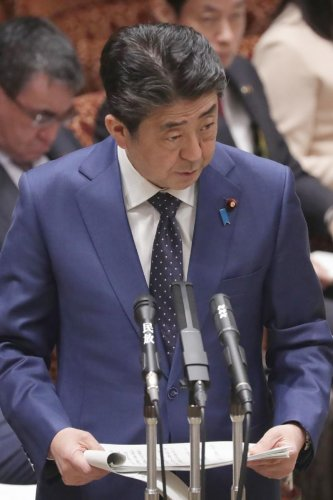 Japanese Prime Minister Shinzo Abe addresses Parliament in Tokyo. AFP