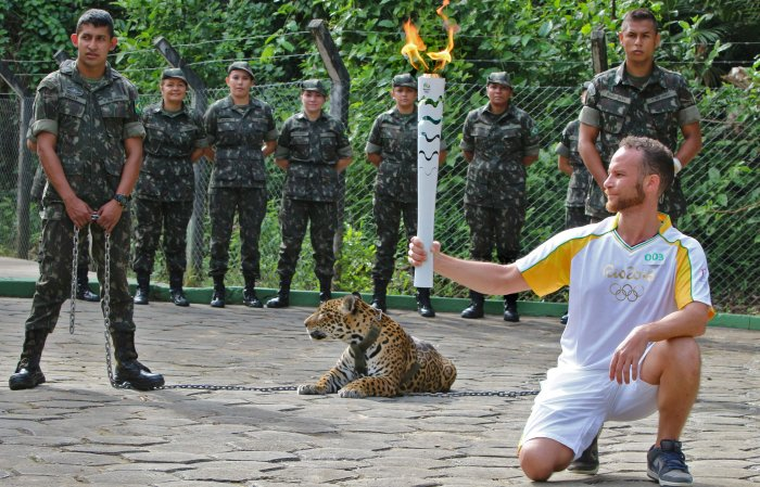 Athlete holding the Olympic Torch by a jaguar -- a symbol of Amazonia -- during a ceremony in Manaus, northern Brazil. (AFP Photo)