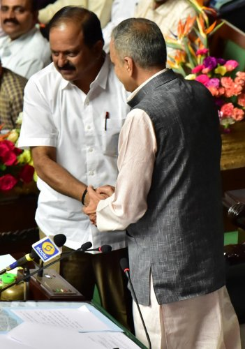 Legislative Assembly Speaker Vishweshwar Hegde Kageri greets BJP legislator Anand Mamani who was unanimously elected as the deputy speaker on Tuesday.