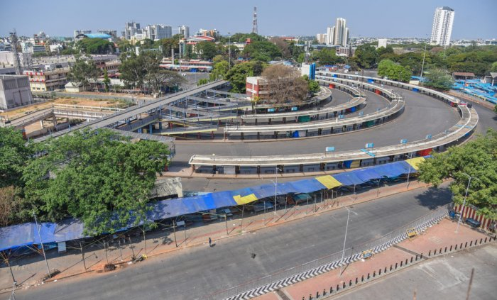 No vehicles on the road lead to clearer air and a drop in pollution levels. A view of  Kempegowda KSRTC bus station and Kempegowda BMTC bus stations. Dh Photo SK Dinesh
