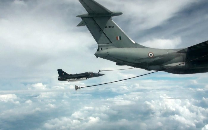 Midair refueling trial of Light Combat Aircraft (LCA) by IL-78 aircraft
