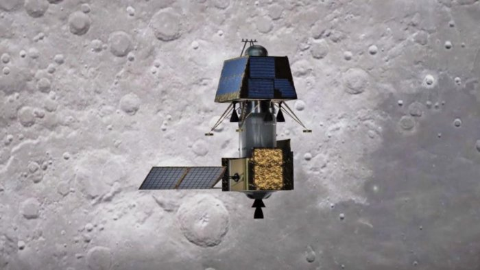 An artist's impression of the Chandrayaan-2's Orbiter-Lander-Rover composite orbiting over the lunar surface. Image: ISRO