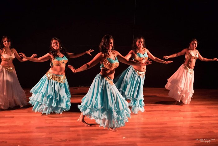 Aswati Anand (left) in a still from belly dance production, The RaS Project, presented by Nrityakosh in April 2017.