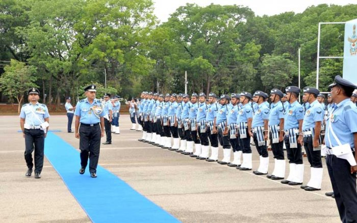 Air Marshal SK Ghotia inspecting the Guard of Honour. DH photo