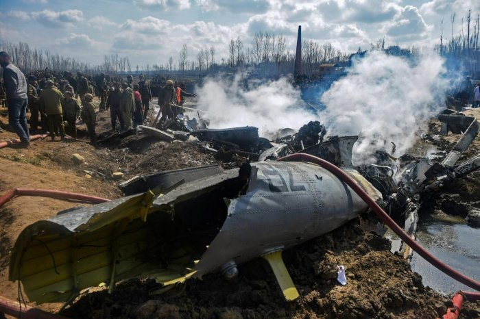 Wreckage of the MI-17 chopper that crashed in Budgam district of Jammu and Kashmir (PTI photo)