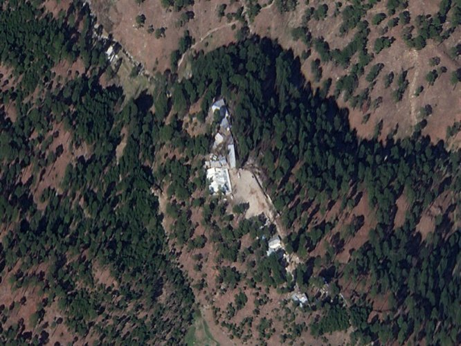 A cropped version of a satellite image shows a close-up of a madrasa near Balakot. Planet Labs Inc./Reuters