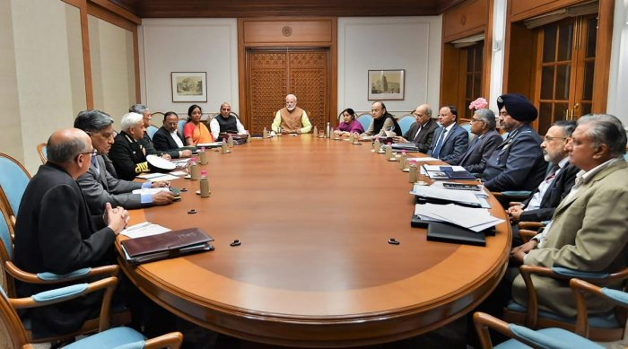 Prime Minister Narendra Modi chairs a high-level meeting on security at his residence, in New Delhi, on Thursday. Home Minister Rajnath Singh, Defence Minister Nirmala Sitharaman, External Affairs Minister Sushma Swaraj, Finance Minister Arun Jaitley, Air