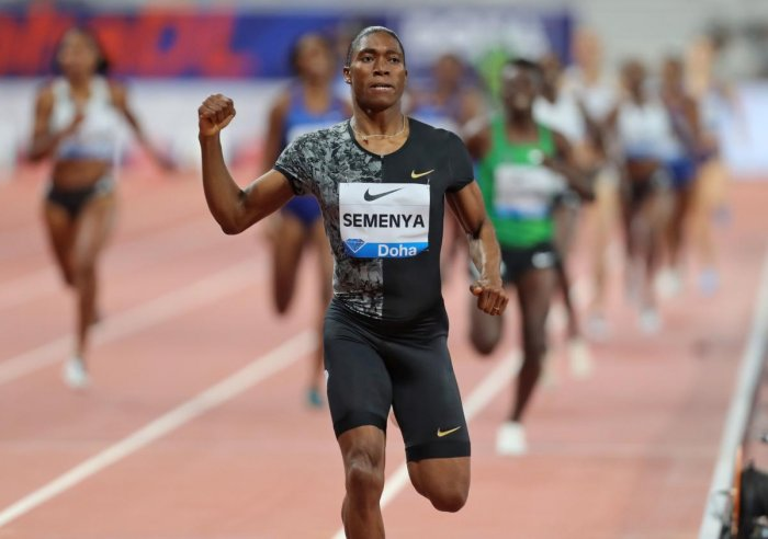 In this file photo taken on May 3, 2019 South Africa's Caster Semenya competes in the women's 800m during the IAAF Diamond League competition in Doha. - Caster Semenya's battle with world athletics' governing body over testosterone-curbing regulations for