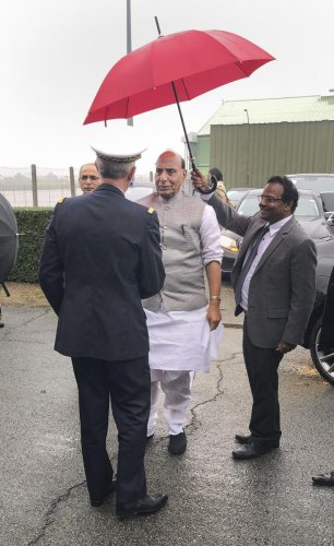 Bordeaux: Union Defence Minister Rajnath Singh on his way to Merignac, a suburb of the south-western French town of Bordeaux. (PTI Photo)
