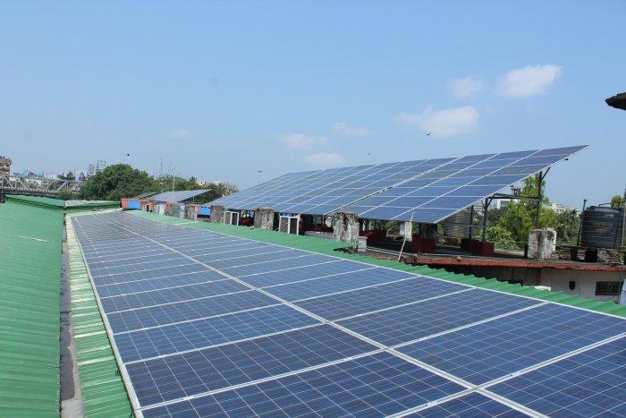 A solar panel in a railway station. Photo credit: NF Railways, Maligaon, Guwahati. (DH Photo)