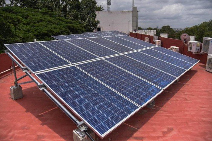 Solar Panels installed on the roof of Bangalore University administration block building at Jnana Bharathi, University campus in Bengaluru