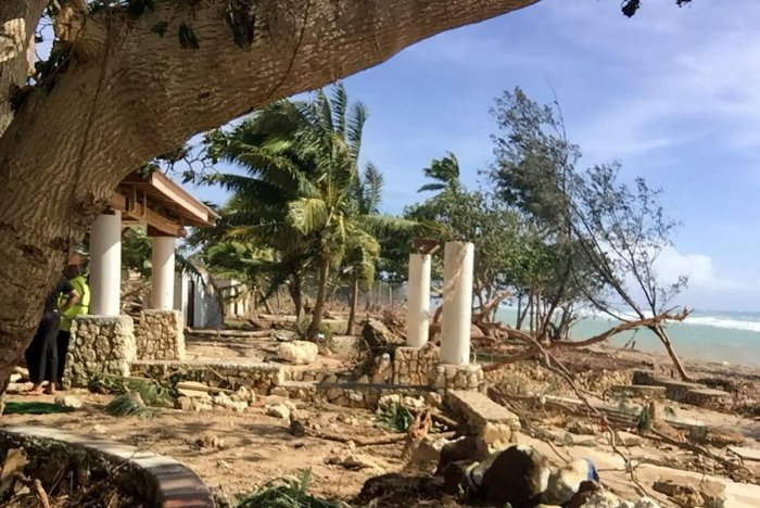 A resurgent Tropical Cyclone Harold flattened tourist resorts in Tonga on April 9, extending a week-long trail of destruction across four South Pacific island nations that has claimed more than two dozen lives. (Photo by TONGA POLICE / AFP)