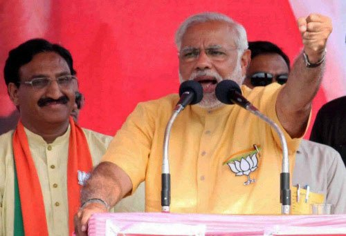 Narendra Modi at an election rally in Amethi