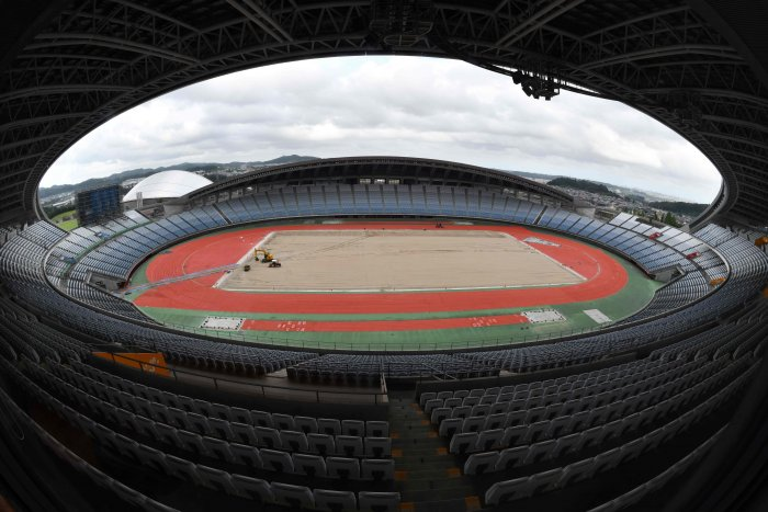 This file photo taken on September 14, 2019 shows Miyagi Stadium, a football venue for the Tokyo 2020 Olympic Games. (Credit: AFP)