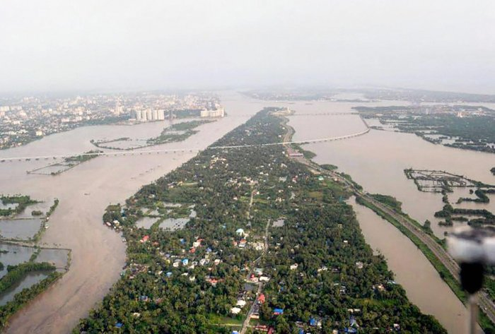 An aeriel view of the floods in Aluva after heavy rains, in Kerala on Friday. PTI photo