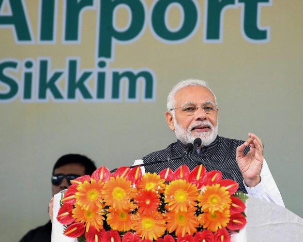 Prime Minister Narendra Modi during the inauguration of Pakyong Airport in Gangtok on September 24, 2018. PTI
