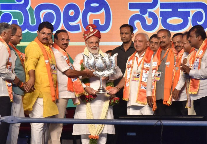 Prime Minister Narendra Modi during the public rally for Lok Sabha elections at Palace Ground in Bengaluru. (DH Photo)