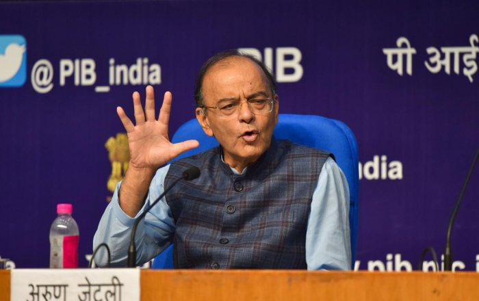 Union Finance Minister Arun Jaitley addresses a press conference on Cabinet decisions, in New Delhi, on Wednesday. PTI