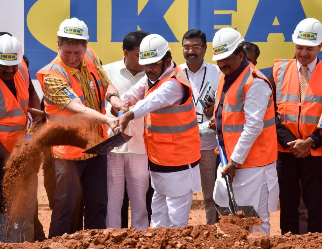 (From Left) Peter Betzel, CEO, IKEA India, Deputy Chief Minister G Parameshwara, Industrial Minister K J George and Gautam Bhattacharyya, Deputy Head of Mission, Embassy of Sweden during the IKEA Bengaluru ground-breaking ceremony, at Nagasandra Metro sta