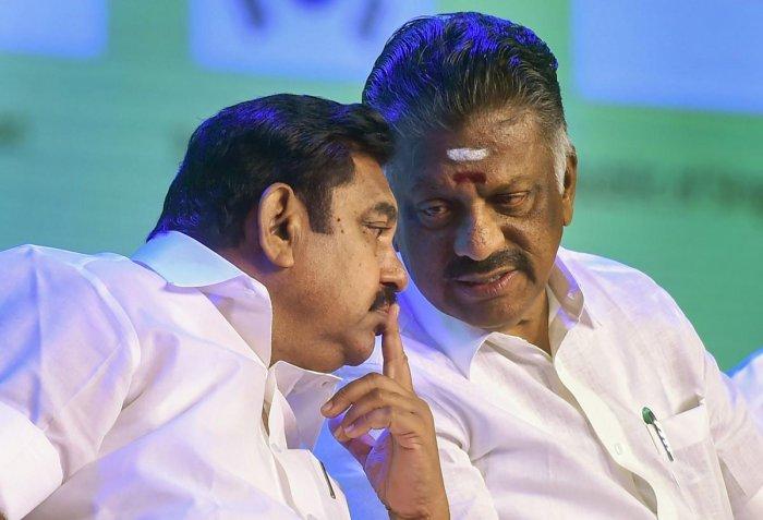 Tamil Nadu Chief Minister Edappadi K Palaniswami and Deputy Chief Minister O. Panneerselvam. PTI file photo