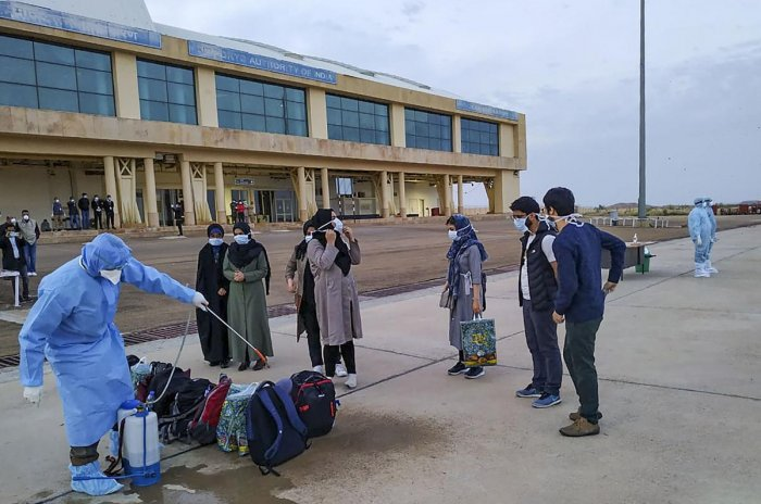 A batch of Indian nationals evacuated from Iran reach Indian Army Wellness Facility at Jaisalmer Mil Station for their mandatory quarantine period in the wake of coronavirus pandemic. (PTI Photo)