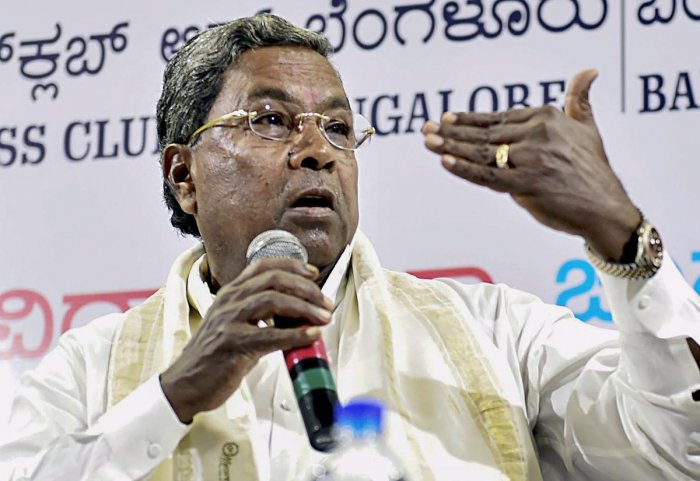 Karnataka Chief Minister Siddaramaiah during 'Meet the Press' programme at the Press Club in Bengaluru on Sunday.PTI Photo