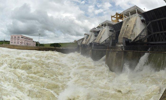 Water gush out of Kabini Dam, in Beechanahalli, in H D Kote, Mysuru. (File Photo)
