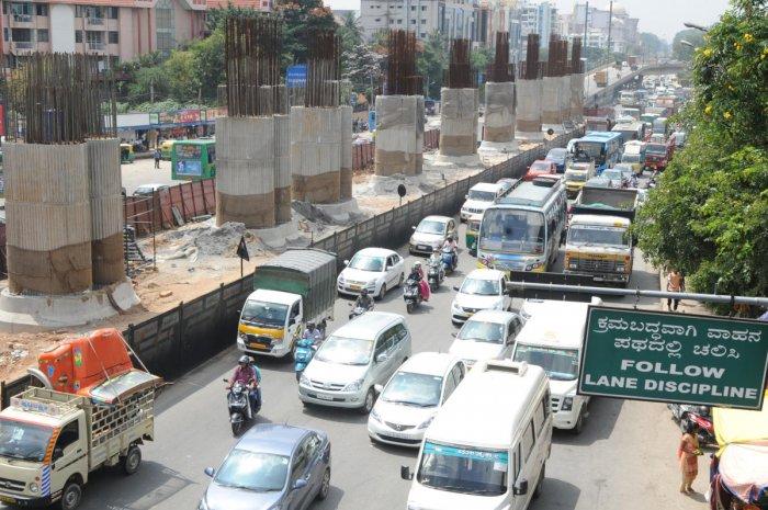 Metro pillers on K R Puram junction in Bengaluru. Photo Srikanta Sharma R.