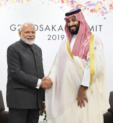 Osaka: Prime Minister Narendra Modi meets Crown Prince, Vice President of the Council of Ministers of Defence of the Kingdom of Saudi Arabia, Prince Mohammed Bin Salman Bin Abdulaziz Al-Saud, on the sidelines of the G-20 Summit, in Osaka, Japan, Friday, J