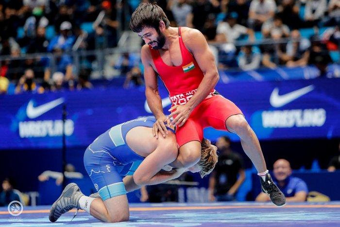 It was Bajrang Punia's third medal at the World Championships. PTI Photo