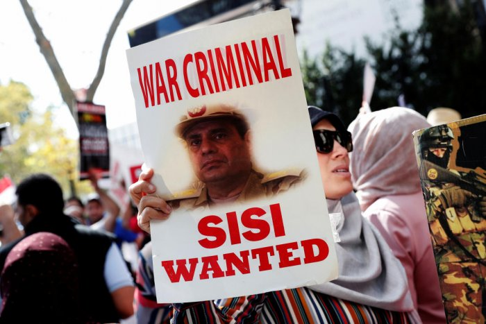 Demonstrators rally against Egyptian President Abdel Fattah al-Sisi outside the U.N. headquarters in New York City, New York, U.S., September 24, 2019. (Reuters Photo)
