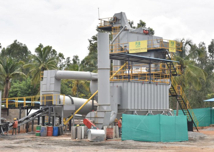 (From left to right) The plastic-bitumen mixing plant located on the Kempegowda International Airport campus; workers empty plastic into the mixer; and the roads being laid out on Thursday. DH Photos/B K Janardhan
