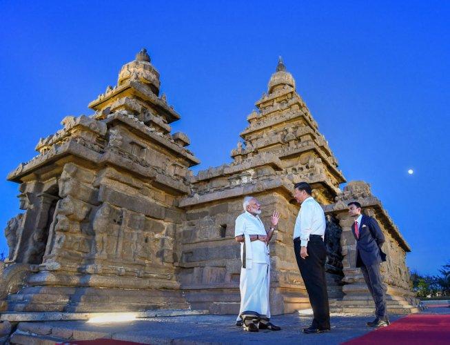 Prime Minister Narendra Modi with Chinese President Xi Jinping, in Mamallapuram. (PTI Photo)