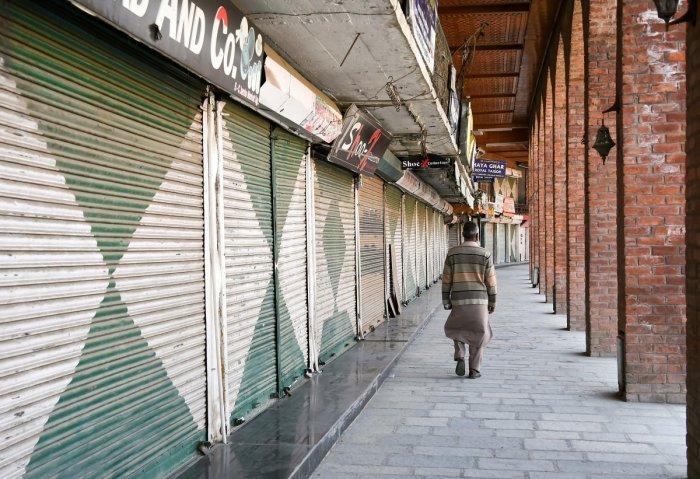 Closed market in Srinagar (PTI Photo)