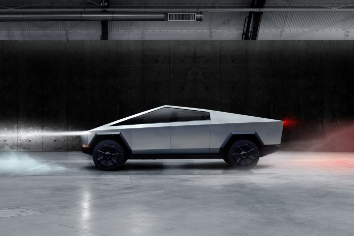The Cybertruck, Tesla's first electric pickup truck, is seen in this undated handout picture released by the company. (Reuters Photo)