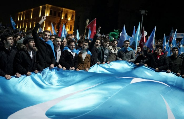 Protesters march in support of China's Uighurs in Istanbul. (Reuters file photo)