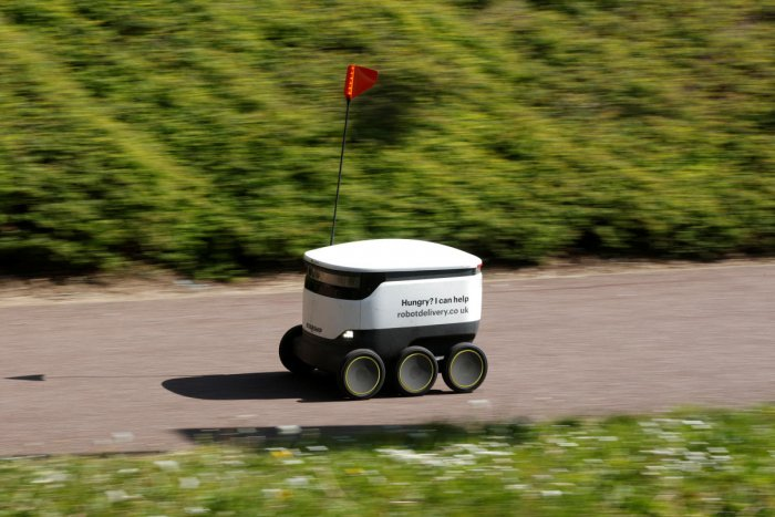 A delivery robot from the company ''Starship'' is seen, as the spread of the coronavirus disease (COVID-19) continues, in Milton Keynes. Reuters