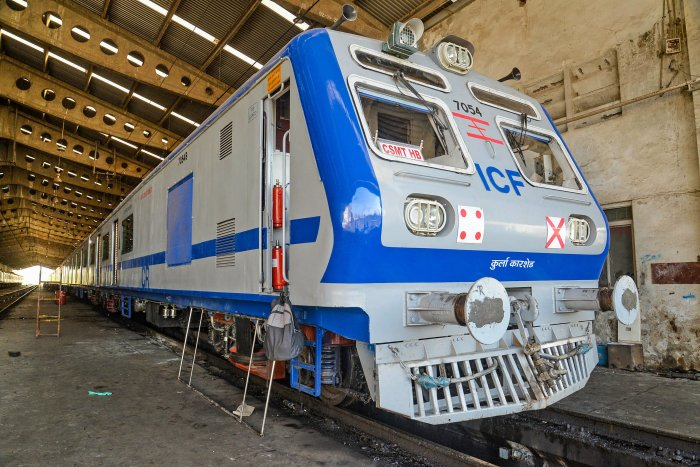 First AC train on Central Railway's trans-harbour corridor between Thane and Panvel is stationed at Sanpada car shed ahead of its trial run, in Navi Mumbai. (PTI Photo)