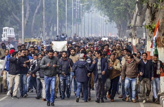 Members of Aligarh Muslim University took out a protest march against CAA. (PTI file photo)