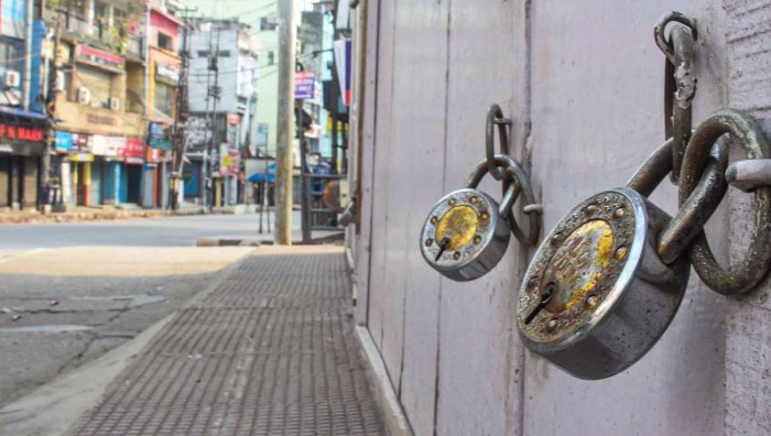 hops are seen locked during a nationwide lockdown imposed in the wake of coronavirus pandemic, in Guwahati. PTI