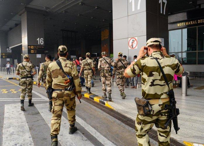 CISF jawans walk at Terminal 3 of the IGI Airport in New Delhi, Friday, Nov. 1, 2019. (PTI Photo)