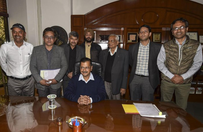 Senior Aam Aadmi Party convenor Arvind Kejriwal takes charge of office as Delhi Chief Minister at Delhi Secretariat, in New Delhi, Monday, Feb. 17, 2020. (PTI Photo)