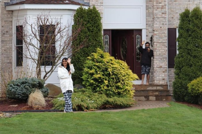 Dr Keekanamada Preethi at her house with husband Subramani. DH Photo